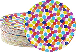 Disposable Plates - 80-Count Paper Plates, Polka Dot Party Supplies for Appetizer, Lunch, Dinner, and Dessert, Kids Birthdays, 9 x 9 inches