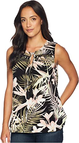 Soft Palms All Over Sleeveless Tie Blouse