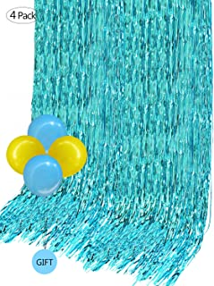 Foil Curtains Metallic Fringe Curtain Backdrop (4 Pack,12 x 10 ft) for Room Divider Wedding Birthday Party Christmas Decoration Drapery with 4 Free Balloons(Turquoise Color)
