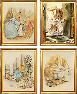 Impact Posters Gallery The Tale of Peter Rabbit Beatrix Potter The Original and Authorized Edition Wall Decor Kids Room Four Set Golden Framed 8x10 Art Print Poster