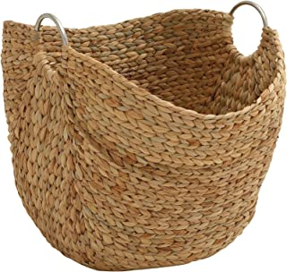 Deco 79 49044 Modern Brown Seagrass Basket With Handles 19