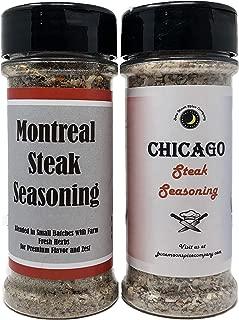 Premium   STEAK SEASONING   Variety 2 Pack   Chicago Steak Seasoning   Montreal Steak Seasoning   Large Shakers   Calorie Free   Fat Free   Saturated Fat Free   Cholesterol Free   Sugar Free