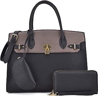Dasein Women Vegan Leather Handbag and Purse Satchel Bag with Crossbody Strap