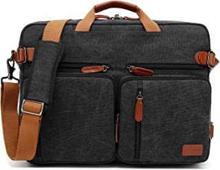 CoolBELL Convertible Backpack Messenger Bag Shoulder Bag Laptop Case Handbag Business Briefcase Multi-Functional Travel Rucksack Fits 17.3 Inch Laptop for Men/Women (Canvas Black)