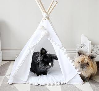 MINICAMP kanin teepee med en matchande pompom dyna portabel husdjurshus med matta – Boho Tipi-tält för små hundar