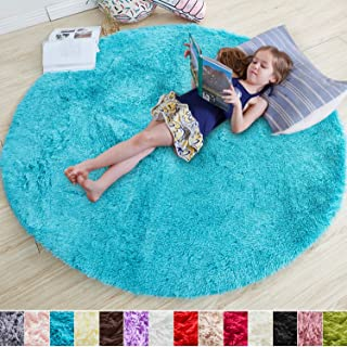 Blue Round Rug for Bedroom,Fluffy Circle Rug 4'X4' for Kids Room,Furry Carpet for Teen's Room,Shaggy Throw Rug for Nursery Room,Fuzzy Plush Rug for Dorm,Turquoise Carpet,Cute Room Decor for Baby