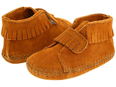 Minnetonka Kids Front Strap Bootie (Infant/Toddler) (Brown Suede) Kids Shoes