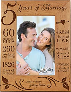 LifeSong Milestones 5th Anniversary Picture Frame 5 Years of Marriage - Five Year Wedding Keepsake Gift for Parents Husband Wife him her Holds 4x6 Photo - and It Keeps Getting Better (6.5x8.5)