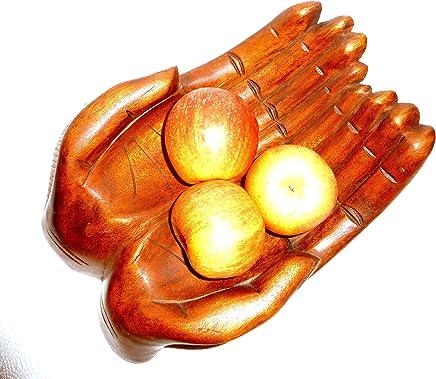 Preisvergleich für Dekoschale Obstschale Ablageschale Holzschale Hände handgeschnitzt 30x21cm