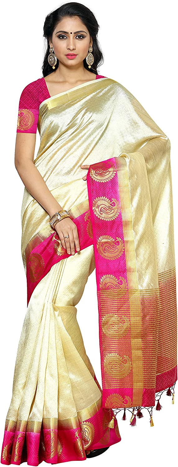 MIMOSA Women's Tussar Silk Saree with Blouse Piece (20612DHwtRni_Off White)