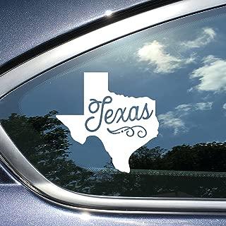 Texas Sticker or Car Decal 4 x 4 Inches White Vinyl Texas Car Sticker