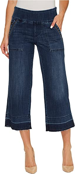 Jag Jeans Snyder Pull-On Wide Leg Pants in Crosshatch Denim in Thorne Blue