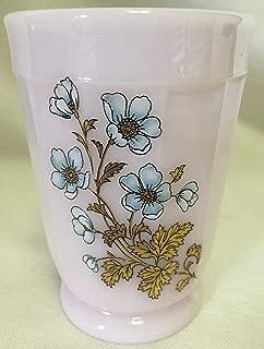 Tumbler w/ Blue & Gold Floral - Paneled Pattern - American Made - Mosser USA - Crown Tuscan Pink Milk Glass