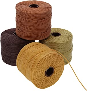 Beadsmith S-Lon #18 Cord, Multipack with 4 Spools (Wheat Berry Mix), Ideal for Stringing Beading Crochet and Micro-macramé...