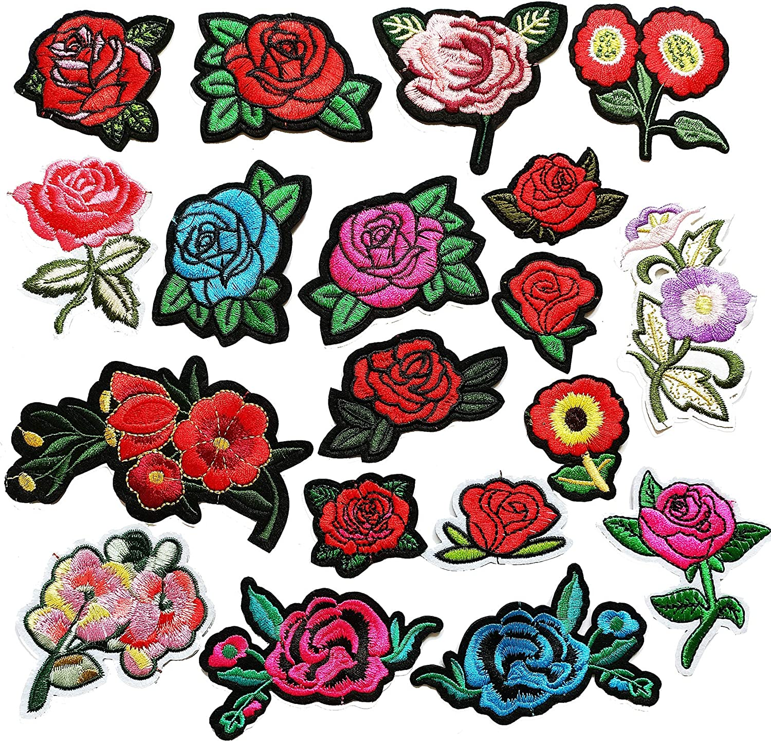 19pcs Rose Flowers Iron On Atlanta Mall New item Decor Embroidery Patches DIY