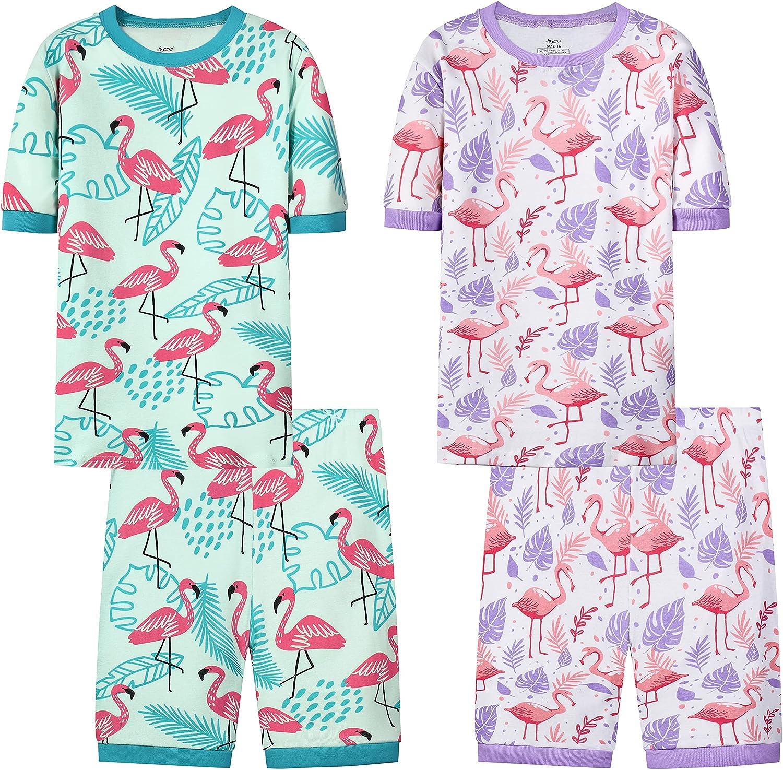 Joyond Cotton Pajamas for Girls Cute Kids Toddler Clothes Kids Snug-Fit Pjs Pants Set(flamingo,10)