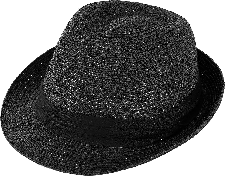 Livingston Packable & Foldable Men Women Summer Straw Structured Fedora Hat Cuban Trilby Beach Sunhat