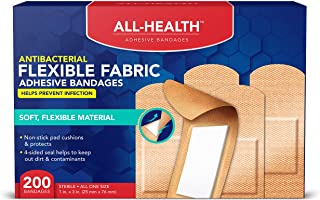All Health Antibacterial Fabric Adhesive Bandages, 1 in x 3 in, 200 ct | Helps Prevent Infection, Flexible Protection for ...