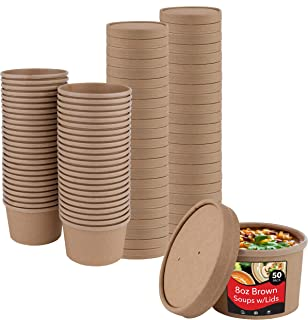 Stock Your Home (50 Count) 8 oz Kraft Brown Disposable Soup Cups with Lids have Multipurpose Use as Ice Cream Cups with Li...
