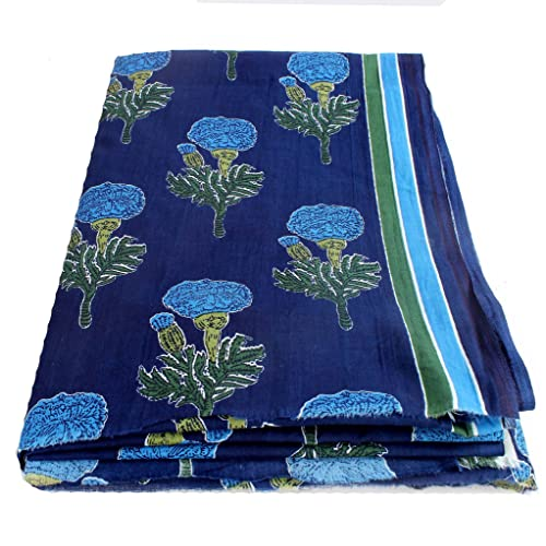 BANARSI DAS Floral Print Jaipuri Fabric Handmade Sanganeri Cotton Fabric Indian Hand Block Print Fabric 2.5 Meter