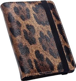 ZONGSHU Leopard Pattern Leather Passport Holder Cover Case RFID Blocking Travel Wallet Brown