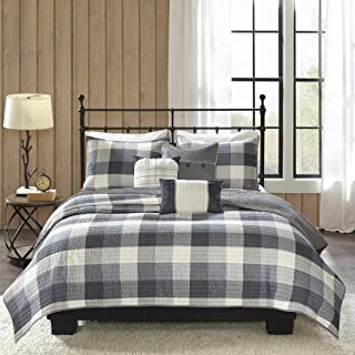 Madison Park Ridge Full/Queen Size Quilt Bedding Set - Grey, Plaid – 6 Piece Bedding Quilt Coverlets – Ultra Soft Microfiber Bed Quilts Quilted Coverlet