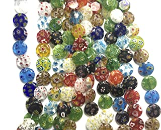 ALL in ONE Millefiori Lampwork Glass Beads for Jewelry Making DIY (12mm Flat Round)