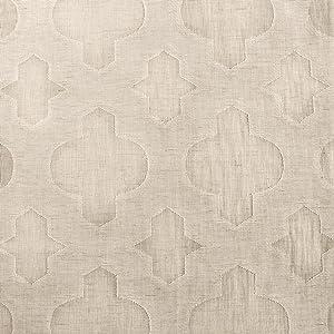 HPD Half Price Drapes SHCH-11701-108 Patterned Faux Linen Sheer Curtain (1 Panel), 50 X 108, Calais Tile