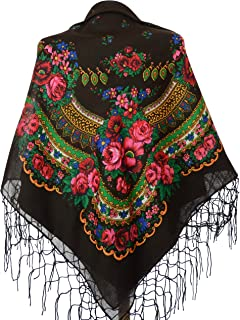 Scarf Wrap Traditional Ukrainian Polish Russian Fringed Floral Neck Head Shawl