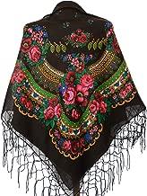 Scarf Wrap Traditional Ukrainian Polish Russian Fringed Floral Neck Head Shawl