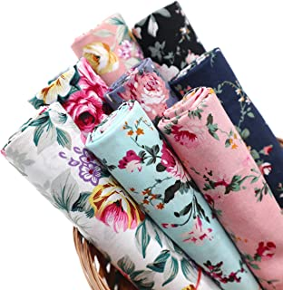 "ZAIONE 8pcs/Set Rose Flower Floral 100% Cotton Poplin Fabric Fat Quarter Sheet 18"" x 22"" Vintage Pattern Printed Cloth Qui..."