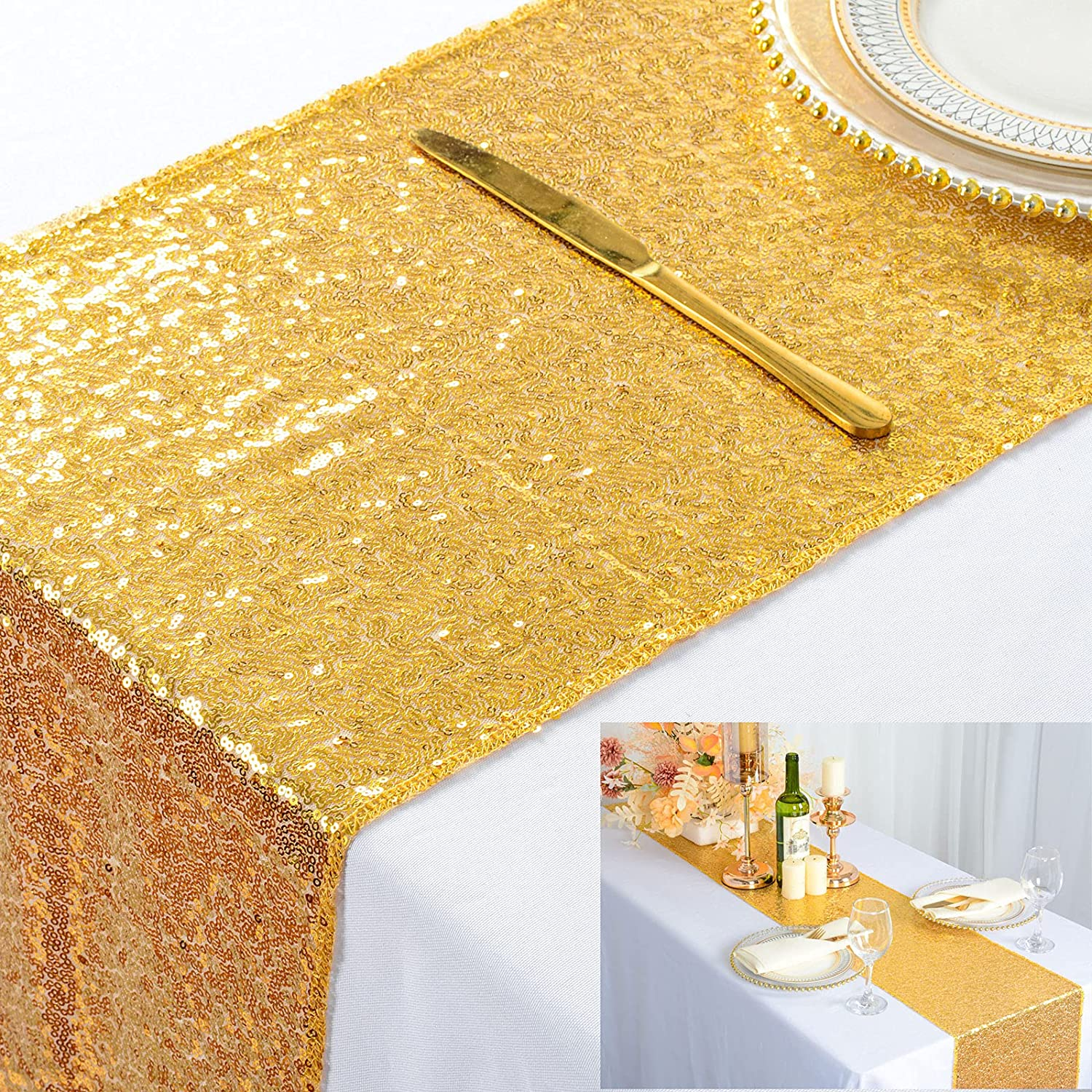 Gold Table Runners Pack of 12x72-Inch Max 40% OFF Shiny Cover price 10