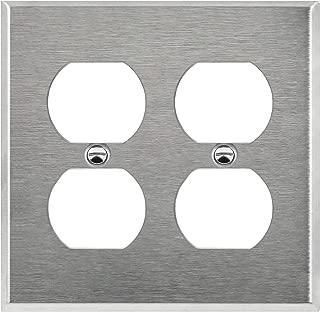 ENERLITES Duplex Receptacle Outlet Metal Wall Plate, Corrosive Resistant, Size 2-Gang 4.50
