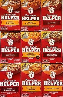 Hamburger Helper Variety Pack of 9 - Cheesy Enchilada,Salisbury,Philly Cheesesteak,Four Cheese Lasagna,Chili Macaroni,Bacon Cheeseburger,Deluxe Beef Stroganoff,Beef Pasta,Deluxe Cheeseburger Macaroni