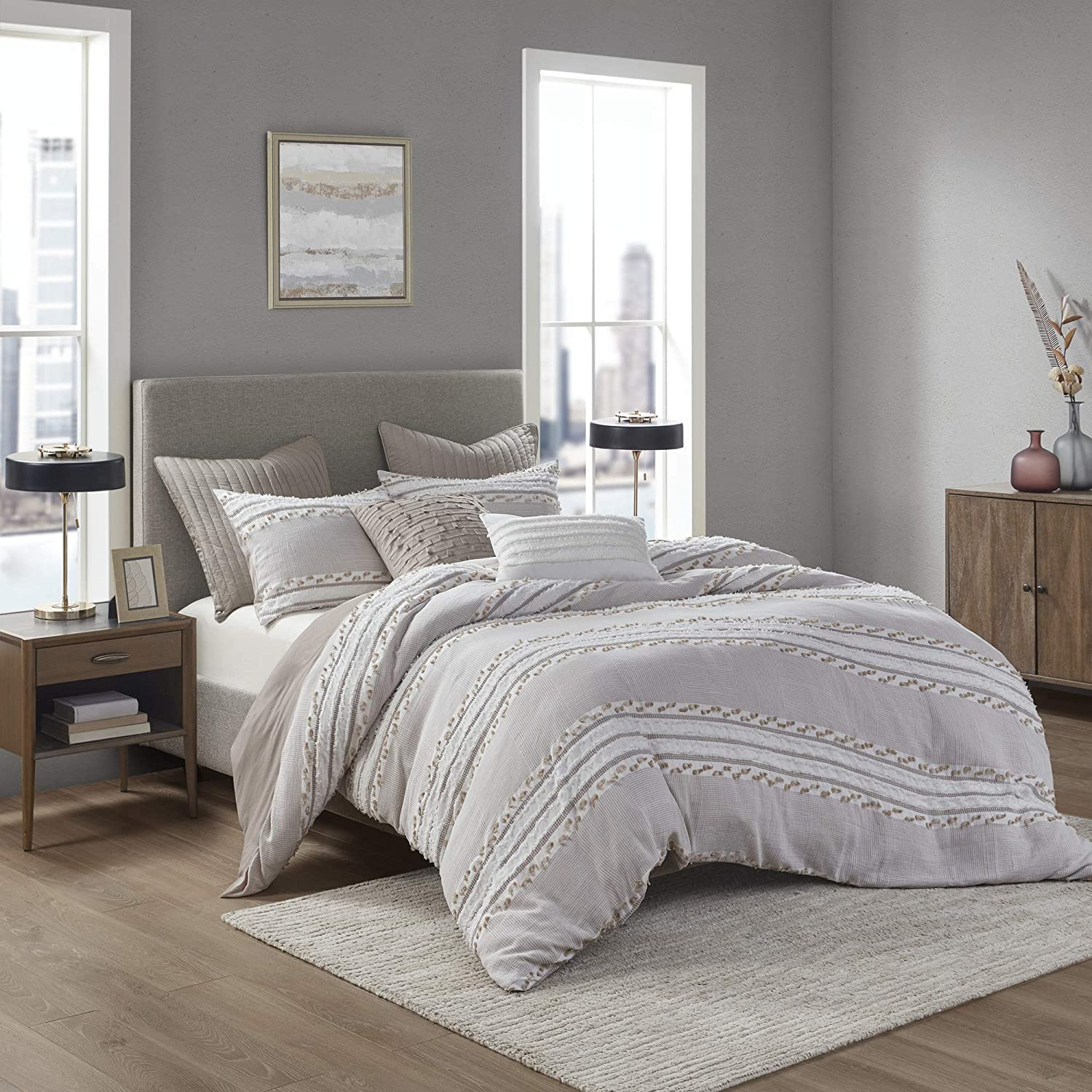 INK+IVY 100% Organic Cotton Comforter Popular product Jacquard Trendy Stripe Set Sales of SALE items from new works
