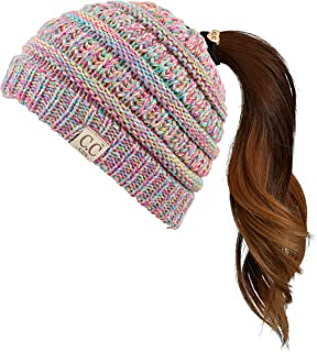 Children Kids Beanie Chunky Knitted Beanie Pony Tail Hat for Kid Ages 2-7 (MB-847) (MB-816)