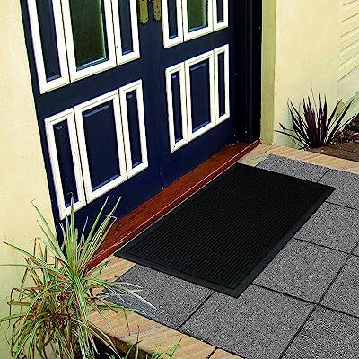 Ottomanson RDM Doormat, 18'' X 30'', Charcoal Rubber