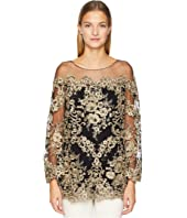 Marchesa - Corded Lace Off the Shoulder Tunic with 3/4 Length Sleeves