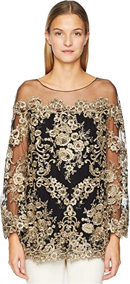 Corded Lace Off the Shoulder Tunic with 3/4 Length Sleeves
