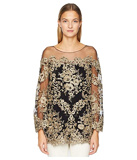 Marchesa Corded Lace Off the Shoulder Tunic with 3/4 Length Sleeves