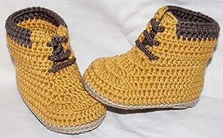 Patucos para bebé de crochet, Unisex. Botas Estilo Panamá, de color mostaza, 100% algodón, tallas de 0 hasta 9 meses, hech...