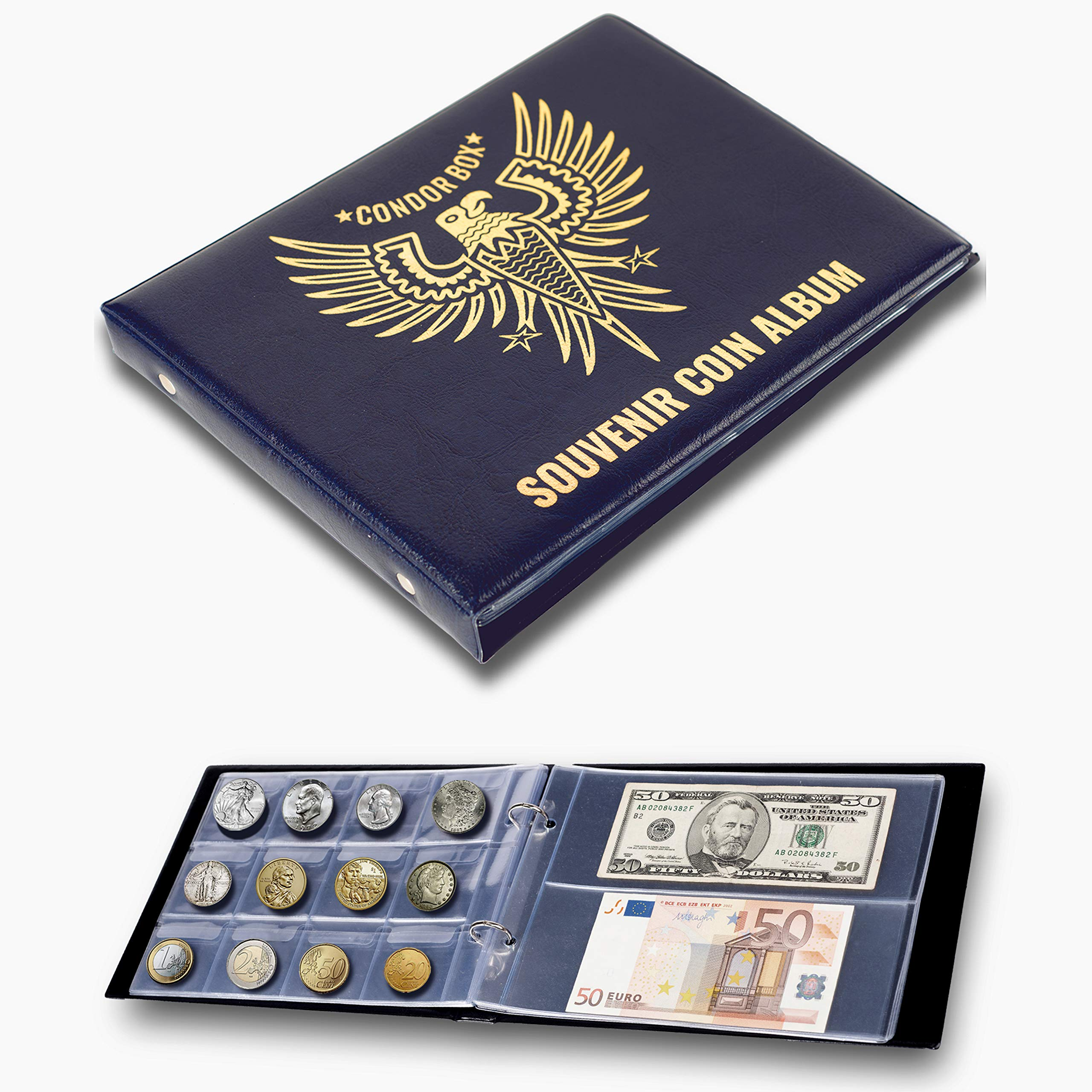 Amazon Com 3in1 Coin Holder Album 180 Pockets Paper Money Collection 10 Pockets Large Storage Book For Collectors For Gold Silver Dollars Dollar Bill Currency Quarters Penny Foreign Coins Dark Blue Office Products