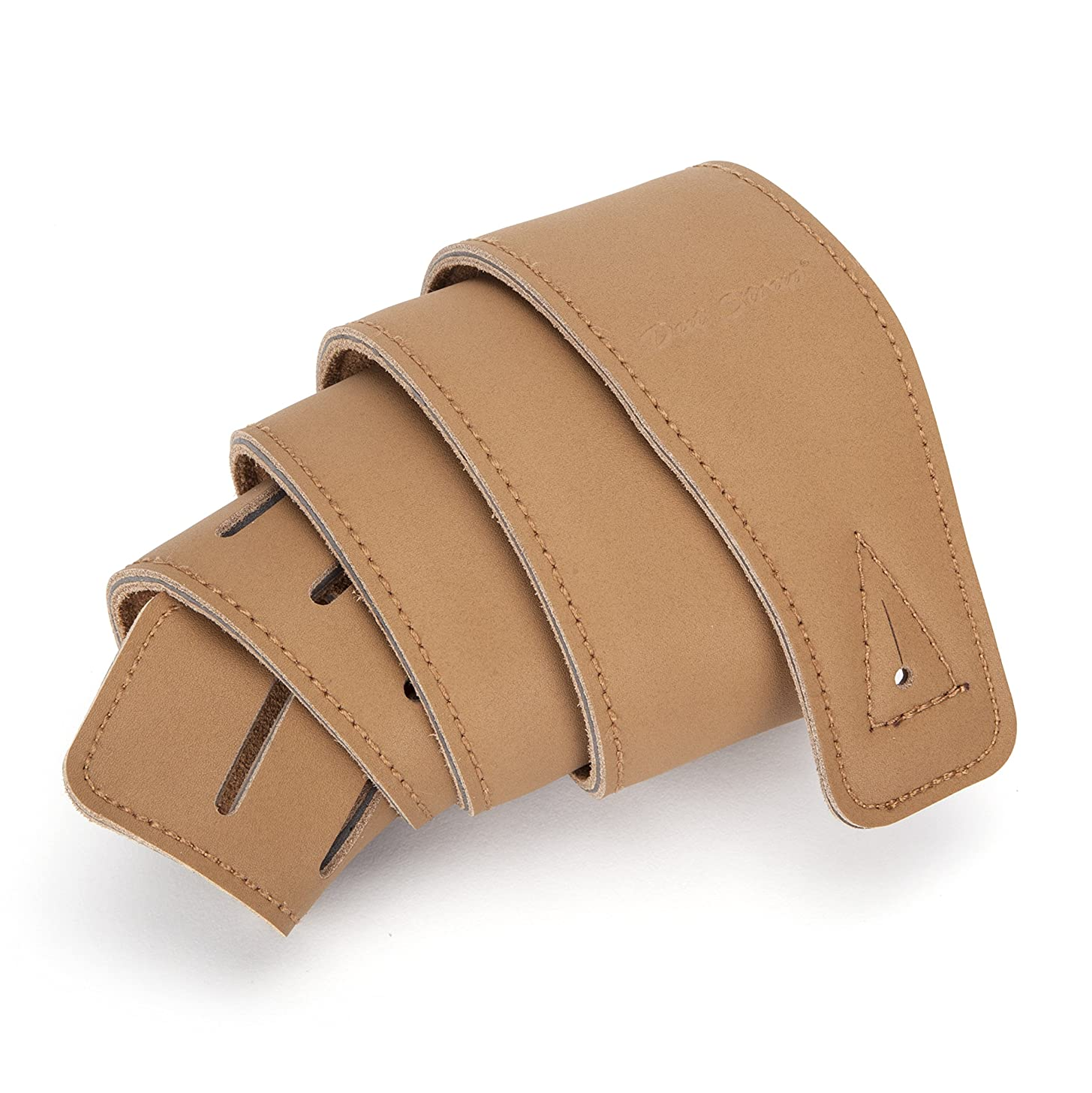 Dat Strap #1 Best Leather Guitar Strap, for Electric, Acoustic, Electro Acoustic, Bass, and Classical Guitar, Padded for Extra Comfort, Light Brown, Includes 2 FREE Pick Geek Steel Picks, Perfect Gift