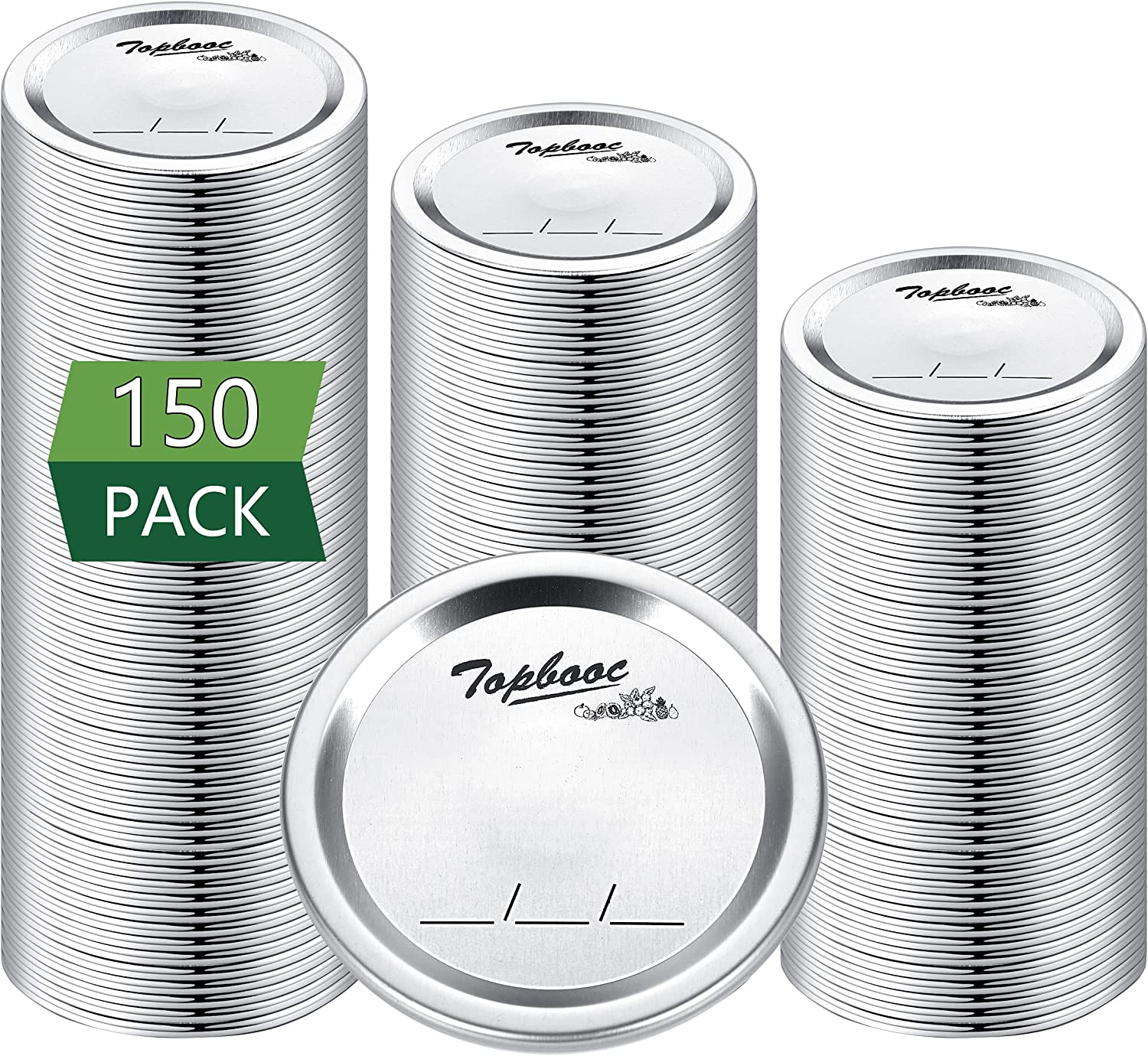 150 - Count,Regular Mouth Canning Lids for Ball, Kerr Jars - Split-Type Metal Mason Jar Lids for Canning - Food Grade Material, 100% Fit & Airtight for Regular Mouth Jars