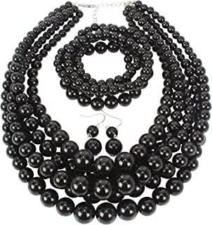 HaHaGirl Faux PearlStrands Jewelry Sets for Women Include...