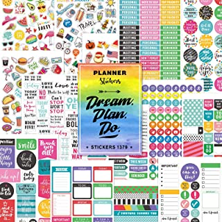 Planner Stickers Pack, 28 Sheets/1378 Stunning Accessories, Variety Decorative Stickers for Planner, Journal and Calendar,...