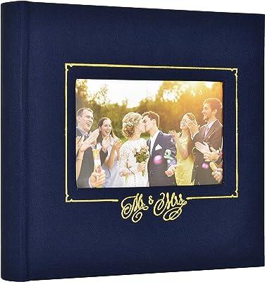 MCS MBI 860157 Mr. & Mrs. Wedding Photo Album, 8.5 x 8.5, Navy