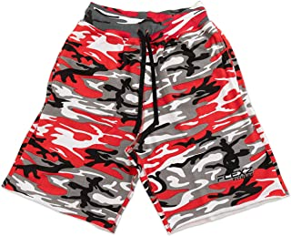 Men's Fleece Jogging and Bodybuilding Gym Workout Sweat Shorts Red Camo