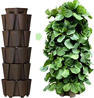 Huge GreenStalk 5 Tier Vertical Garden Planter with Patented Internal Watering System Great for Growing a Variety of Strawberries, Vegetables, Herbs, Flowers (Chocolate Brown)