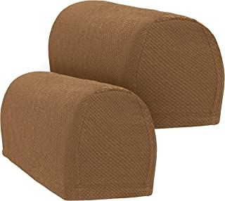 Besti Stretch Armrest Covers – Set of 2 Stretch Armrest Covers – Multiple Colors Available – Protective Arm Covers - 21 x 8 x 4-1/2 Dimensions – Polyester and Spandex – Machine Washable (Chocolate)